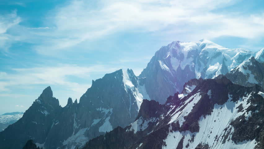Beautiful 4K timelapse video of Mont Blanc mountain with panoramic motion