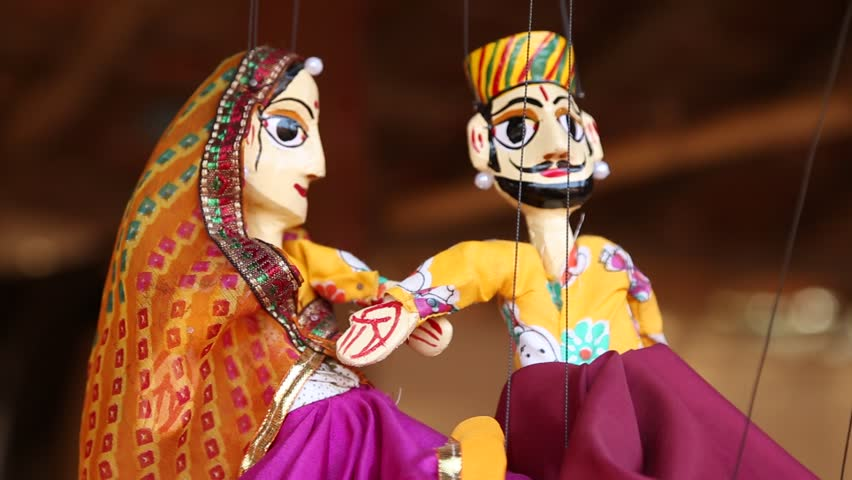 Indian or Rajasthani Traditional Puppets. Stock Footage ...
