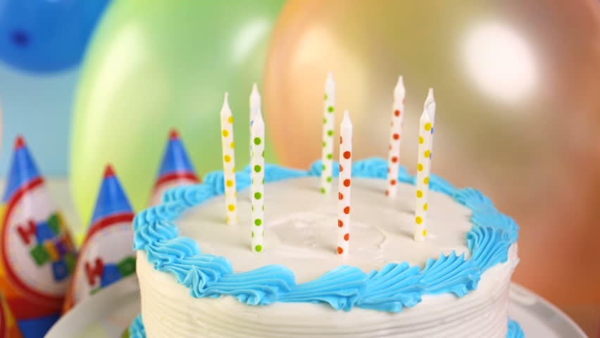 Simple White Birthday Cake With Candles