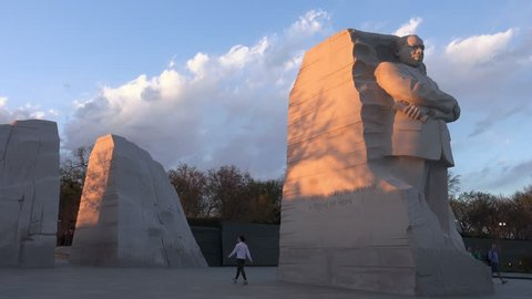 WASHINGTON, DC - MARCH 2016: From Mountain of Despair (left) emerges the Stone of Hope; Martin Luther King Memorial under setting sun. MLK Memorial opened August, 2011 on Tidal Basin.