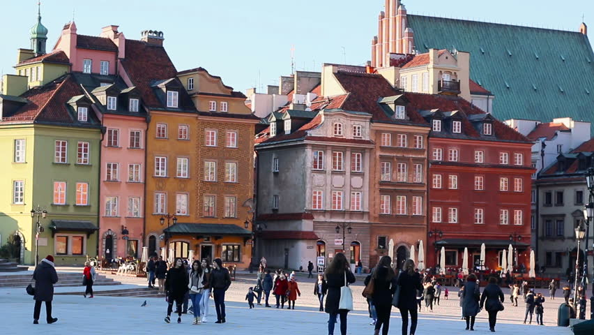 Old Town in Warsaw is placed on the UNESCO's list of World Heritage Sites. The main historic attraction for tourists in capitol of Poland. March, 2016  | Shutterstock HD Video #15639862