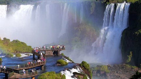 Tourists at Iguazu Falls, on the border of Argentina and Brazil.
