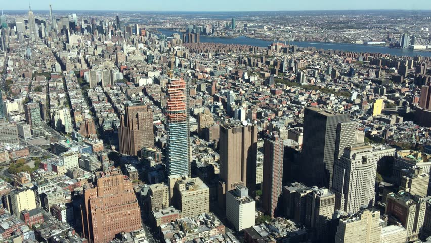 NEW YORK CITY, UNITED STATES - CIRCA OCTOBER 2015: Lower Manhattan Aerial View. New York attracts 50 million people annually #15740302