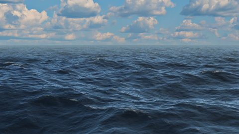 Realistic 3D animation of ocean waves extending to horizon with a cloudy sky. (Seamless loop)