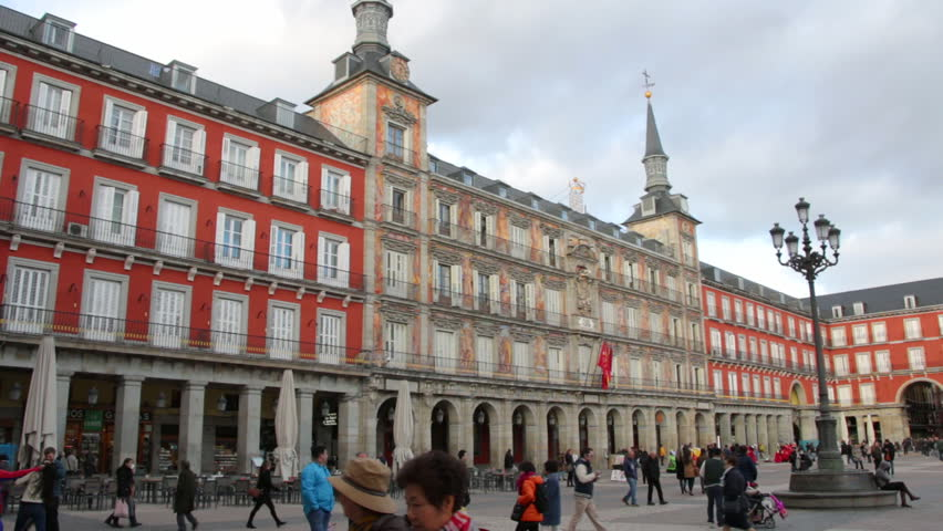 MADRID, SPAIN 08 MARCH 2016: Plaza Mayor in Madrid, a major tourist landmark in central Madrid. Tourist visiting the famous Plaza Mayor in Madrid