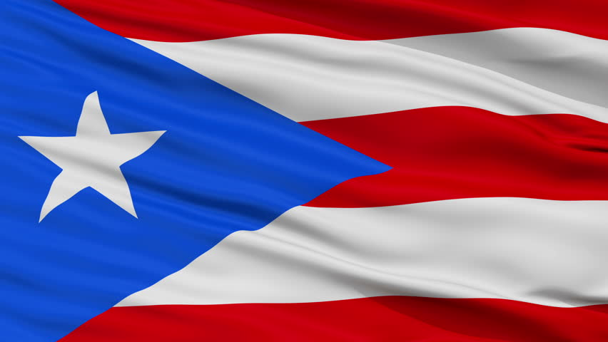 Puerto Rico Flag Close Up Realistic Animation Seamless Loop - 10 Seconds Long