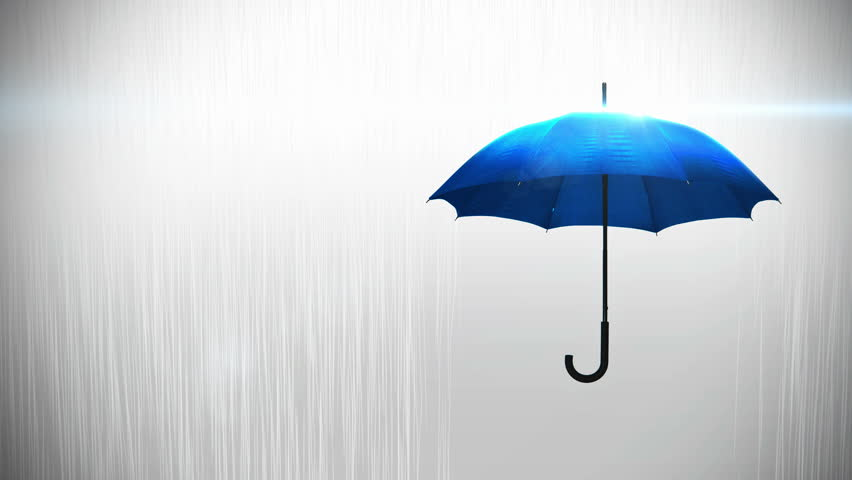 0de4ca7defd26 Blue umbrella with raindrops and lens flare on background animation