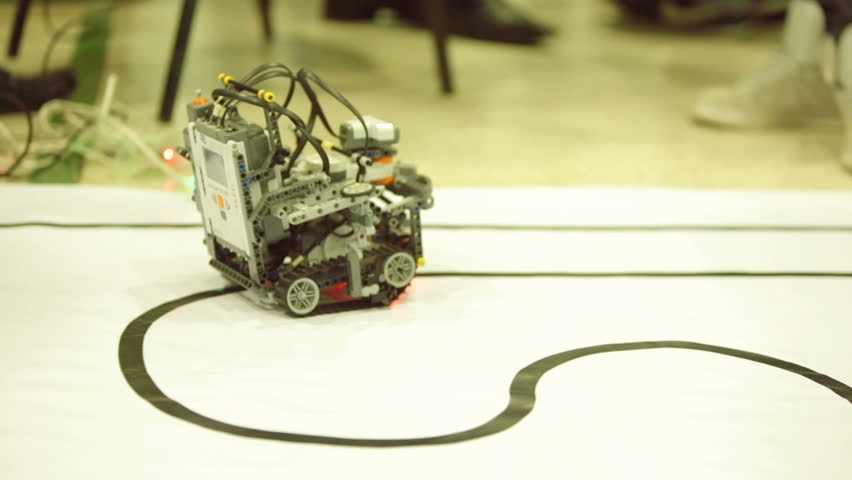 Sofia, Bulgaria - April 5, 2016: Open competition of self-made robots among school students. A robot made of Lego blocks.