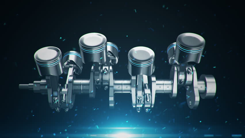 Animation movies of engine pistons on a crankshaft. Animation of seamless loop.