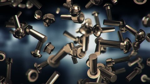 Abstract background with animation of falling nuts, bolts and screws. Animation of seamless loop.