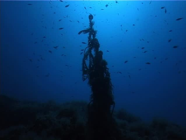 A scuba diver behind a lost fishing-net. Shot captured in the Mediterranean Sea (Italy) by 3CCD camcorder - PAL system.  | Shutterstock HD Video #158092