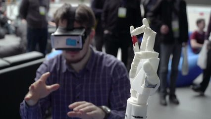 Man with innovative cybernetic system today. Game industry and motion tracking in cyberspace. 360 degree video and display interactive video. Printing on 3D printer. Sci Fi and plastic prosthetics. VR