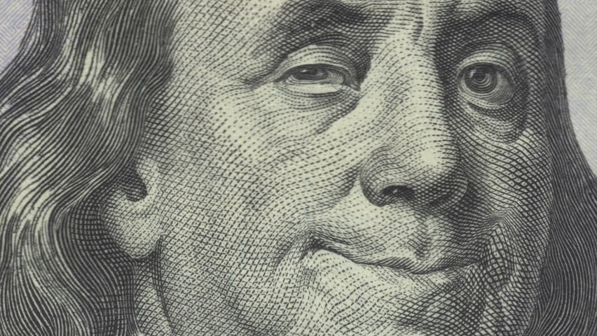Animation of zoom in to close-up of Ben Franklin smiling and winking on US one hundred dollar bill. Meets regulatory requirements for public domain usage per 31 CFR 411. There is NO copyright issue.  | Shutterstock HD Video #15817915