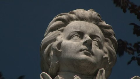 Mozart Statue in Vienna, Austria. Wolfgang Amadeus Mozart is definitely one of the best known names connected with Vienna and Austria. Mozart's statue in Vienna city center. Imperial Palace Gardens