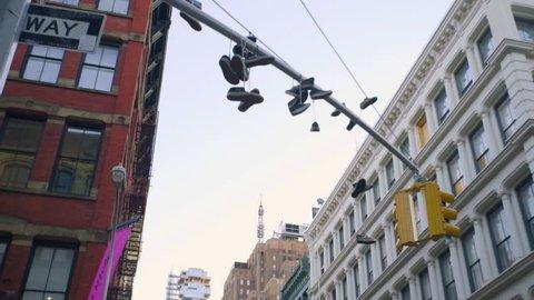 An establishing shot of New York City's SOHO. New York, NY - March, 2016