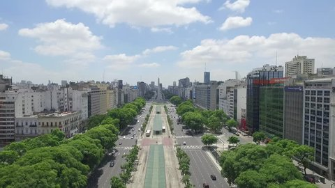 Aerial Drone Scene of Obelisk of Buenos Aires.The Camera up with the Cityscape and Obelisk Background. Camera Films the Traffic and the Movement of 9 de Julio Avenue. Buenos Aires-Argentina