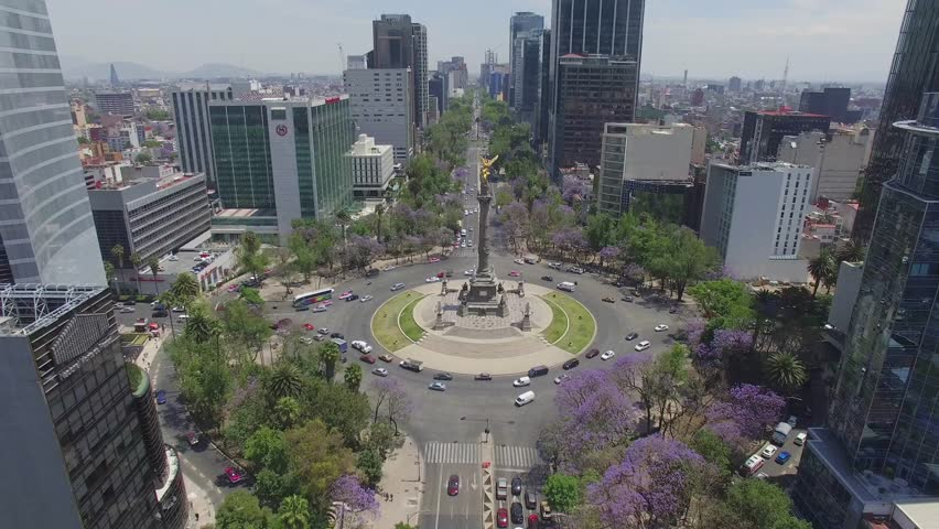 MEXICO - CIRCA 2016. Aerial general shot of Paseo de la Reforma Avenue, the roundabout, Angel de la Independencia and some streets around it
