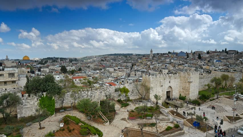 View to Damascus Gate and old Jerusalem City. Time lapse