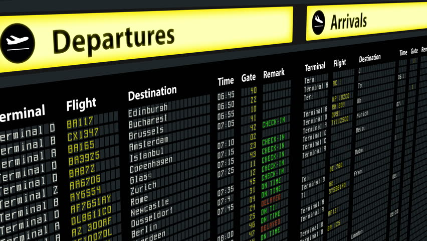 Flight information on airport arrivals departures board, timetable and schedules