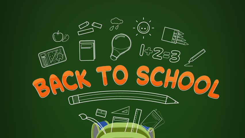 Back to school animated illustration, school bag jumping with text and outline school supplies, Includes Alpha matte for easy background replacement,HD 1080