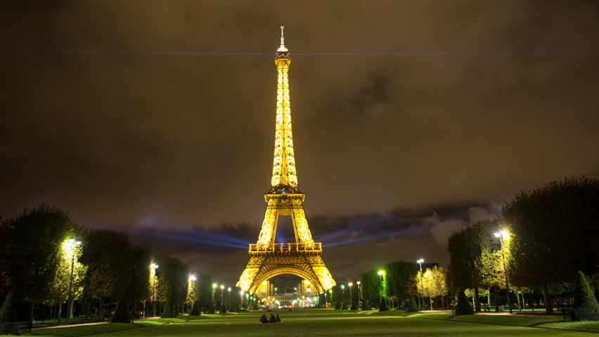 time lapse of the eiffel tower on a cloudy evening paris france circa november 2015 stock. Black Bedroom Furniture Sets. Home Design Ideas