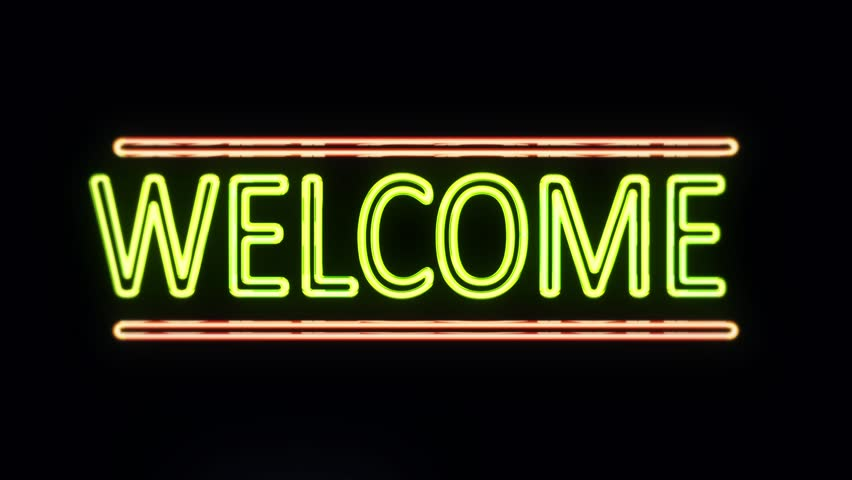 Welcome Sign Sign in Neon Style Turning On