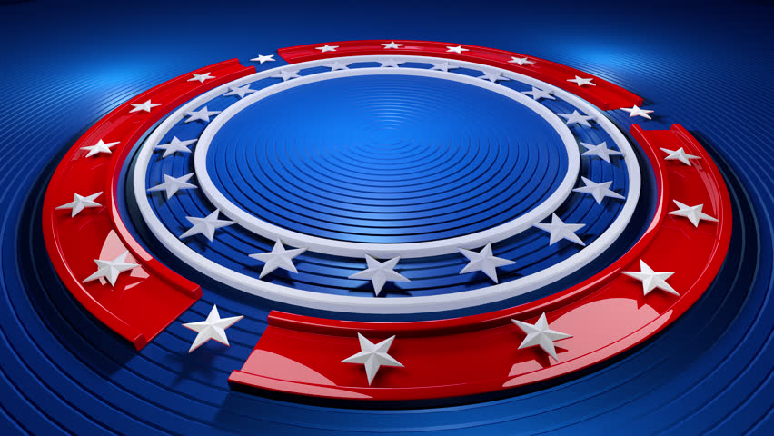 A looping animated Background with a circular design featuring stars and stripes.
