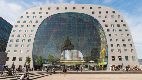Rotterdam, The Netherlands - August 20, 2015: Time lapse of the entrance of the 'Markhal' in Rotterdam.