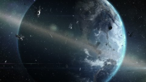 Ring of debris around Earth. Artistic visualization of orbiting space garbage problem.
