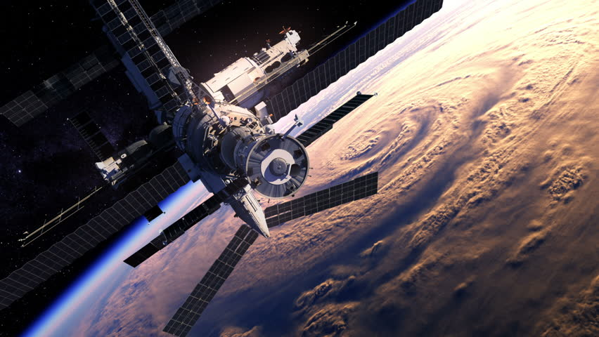 Flight Of Space Station Over The Earth. 3D Animation.