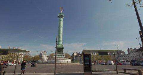 France - Paris - April 2016. Place de la Bastille. Symbol and memorial staute of the french revolution. Dolly shot
