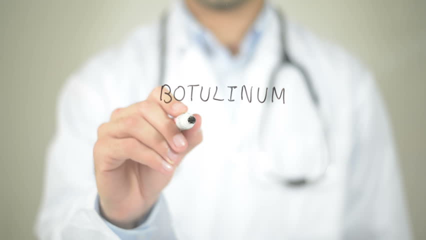 Botulinum Toxin, Doctor Writing on Transparent Screen