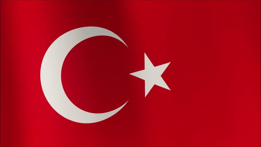 Flag of Turkey waving 4k loop background