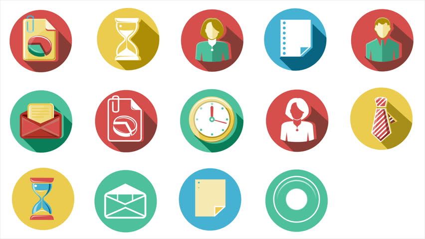 Business and Office Flat Icons Set. 4K.   Shutterstock HD Video #16098382
