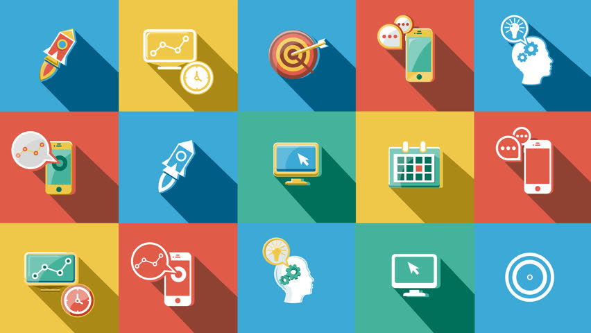 Business And Sales Flat Icons Set. 4K. Stock Footage Video ...