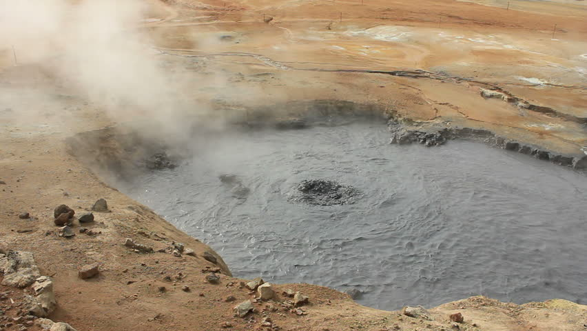 Boiling mud fumarole on Iceland - close-up