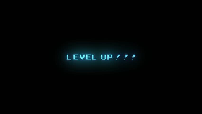 LEVEL UP ELECTRIC BLUE ANIMATION 2 / LEVEL UP STYLE 2 / Level Up Text Glitching in electric blue color style 2