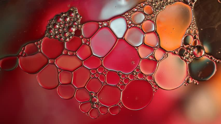 Oil bubbles  floating on  surface waters is in motion with red background