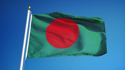 Bangladesh flag waving in slow motion against clean blue sky, seamlessly looped, close up, isolated on alpha channel with black and white luminance matte, perfect for film, news, digital composition
