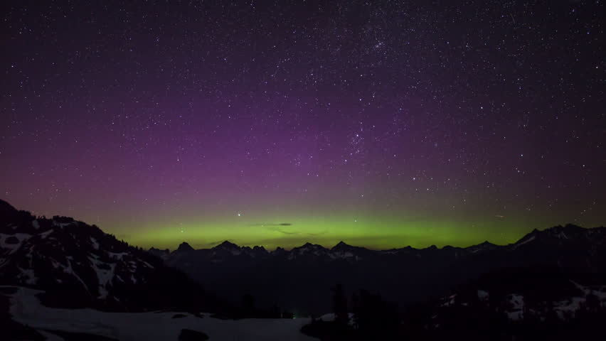 Timelapse view of Aurora Borealis near Seattle, Washington | Shutterstock HD Video #16321372