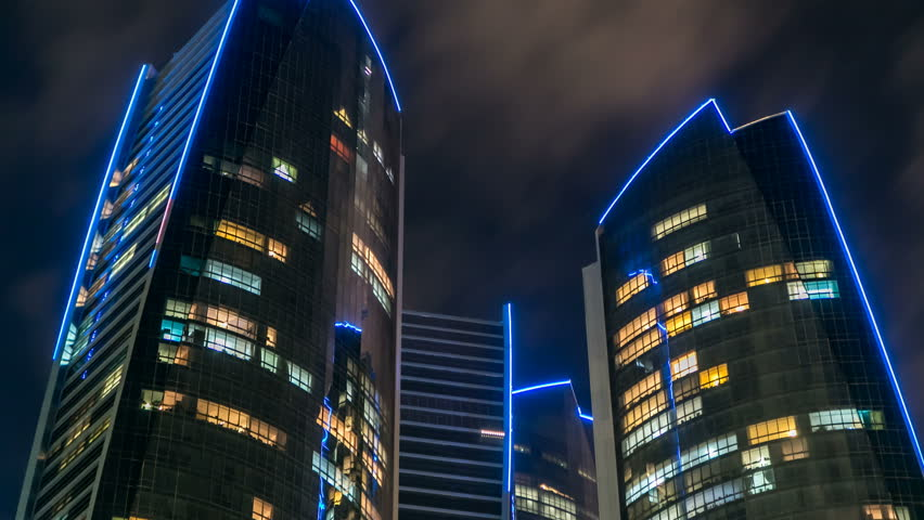 Famous towers buildings in Abu Dhabi night timelapse.