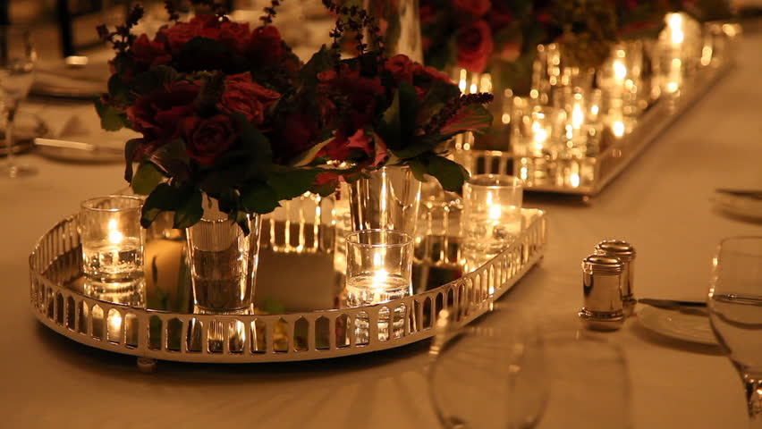 Candle Light Dinner Table Setting Part - 21: Elegant Candlelight Dinner Table Setting At Reception Stock Footage Video  1633822 | Shutterstock