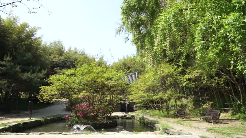damyang south korea april 2016 juknokwon bamboo garden a small pond - Bamboo Garden 2016