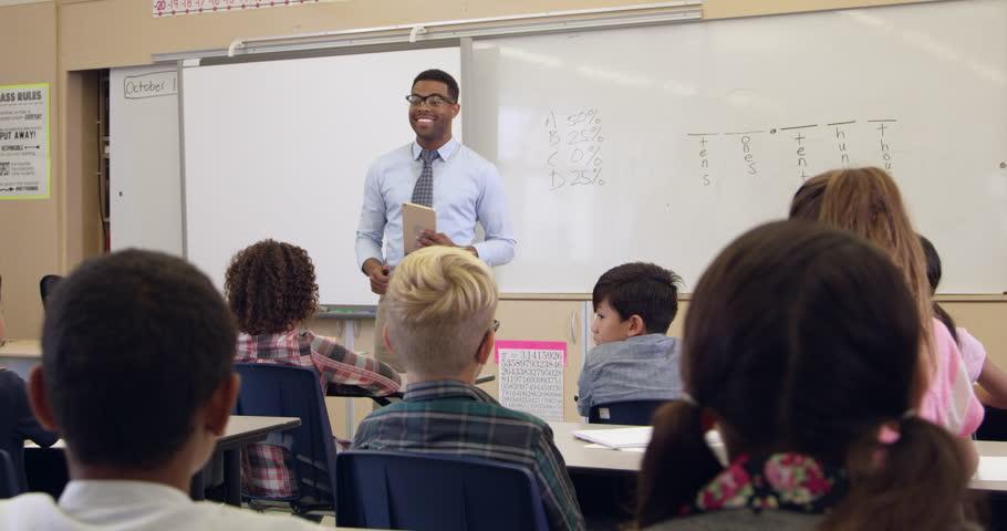 Tilt shot of teacher and 5th grade math class, shot on R3D   Shutterstock HD Video #16357432