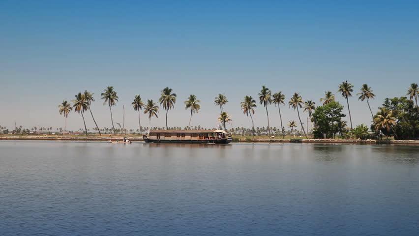 India. Houseboat on Kerala backwaters.