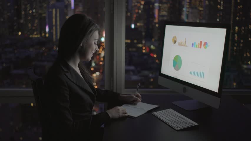Attractive caucasian women sales professional calculation earnings on computer screen. financial saleswomen working in modern office building in the city at night | Shutterstock HD Video #16365772