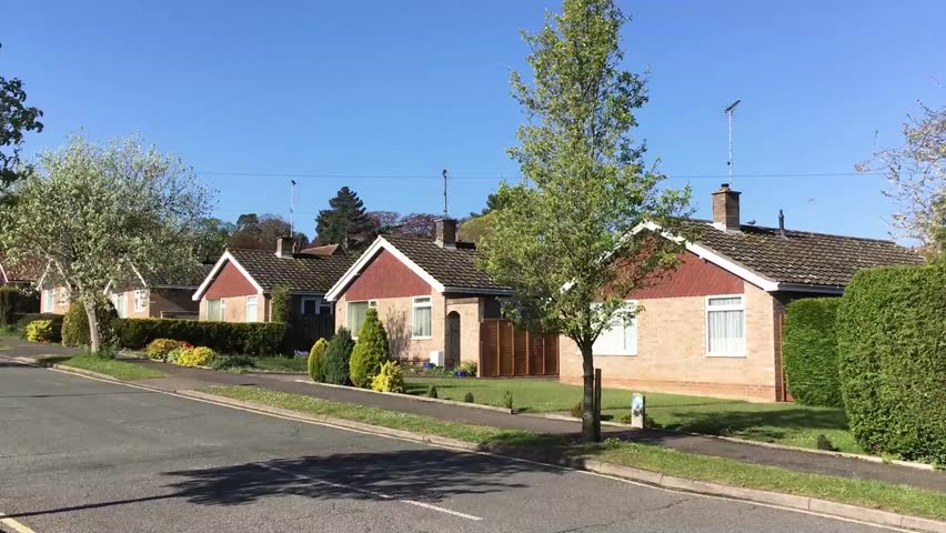 Bungalows in Bury St Edmunds, UK, on a sunny day