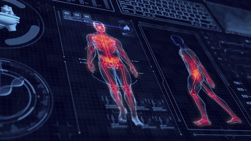 Human Anatomy Walking With Futuristic Stock Footage Video 100