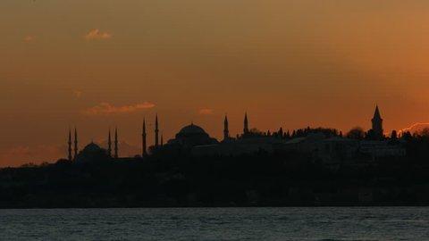 Istanbul Tarihi Yarimada Sultanahmet, Ayasofya ve Topkapi Sarayi Sabit Gunbatimi 34235907 / Constantinepole History Peninsula Sultanahmet, Hagia Sophia or Topkapi Palace Sunset