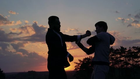 The fighting of Wing Chun on perfect sunset near the river. 4k